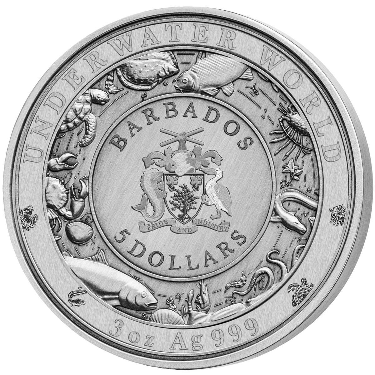 Барбадос монета 5 долларов Крокодил, аверс