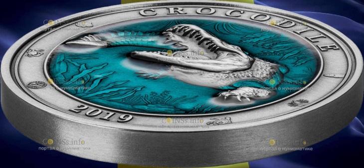 Барбадос монета 5 долларов Крокодил