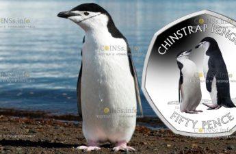 Британской антарктической территории монета 50 пенсов Антарктический пингвин