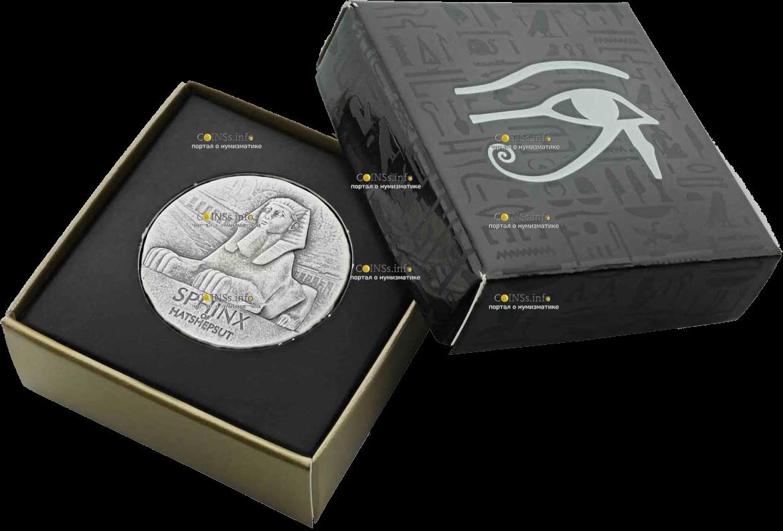 Чад монета 3000 франков КФА Сфинкс Хатшепсут, подарочная упаковка