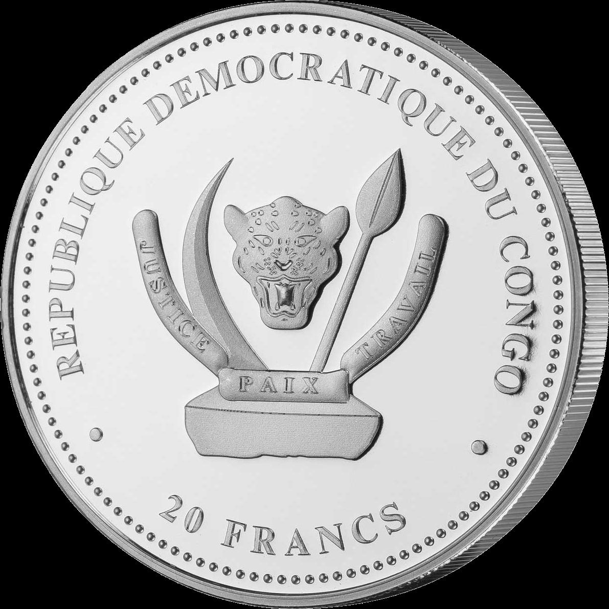 демократическая республика конго монета 20 франков КФА, аверс