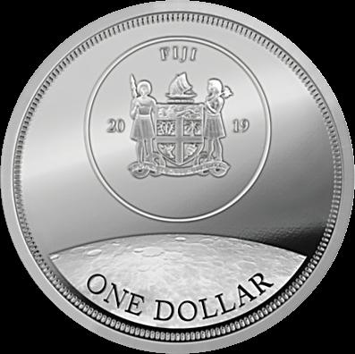 Фиджи монета 1 доллар 50-летие высадки человека на Луну, реверс