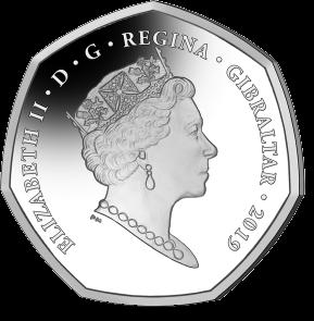 Гибралтар монета 50 пенсов 2019, аверс