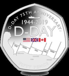 Гибралтар монета 50 пенсов 75-летие Дня Д, реверс