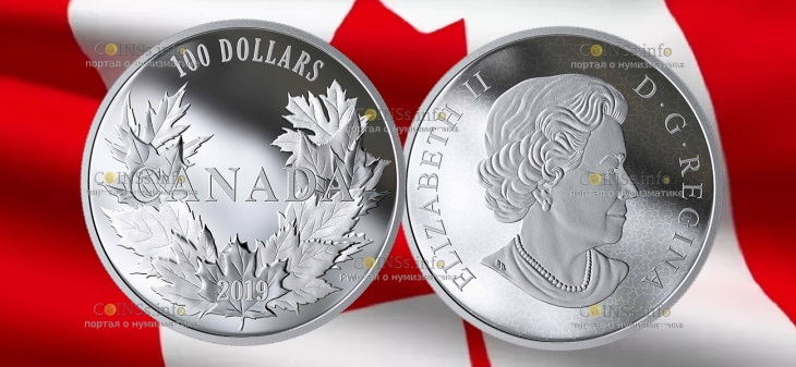Канада монета 10 долларов 10 кленовых листьев