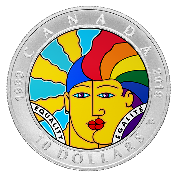 Канада монета 10 долларов 50-летие декриминализации гомосексуализма в Канаде, реверс