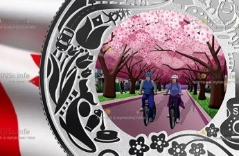 Канада, монета 3 доллара Фестиваль цветущей вишни