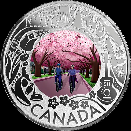 Канада, монета 3 доллара Фестиваль цветущей вишни, реверс