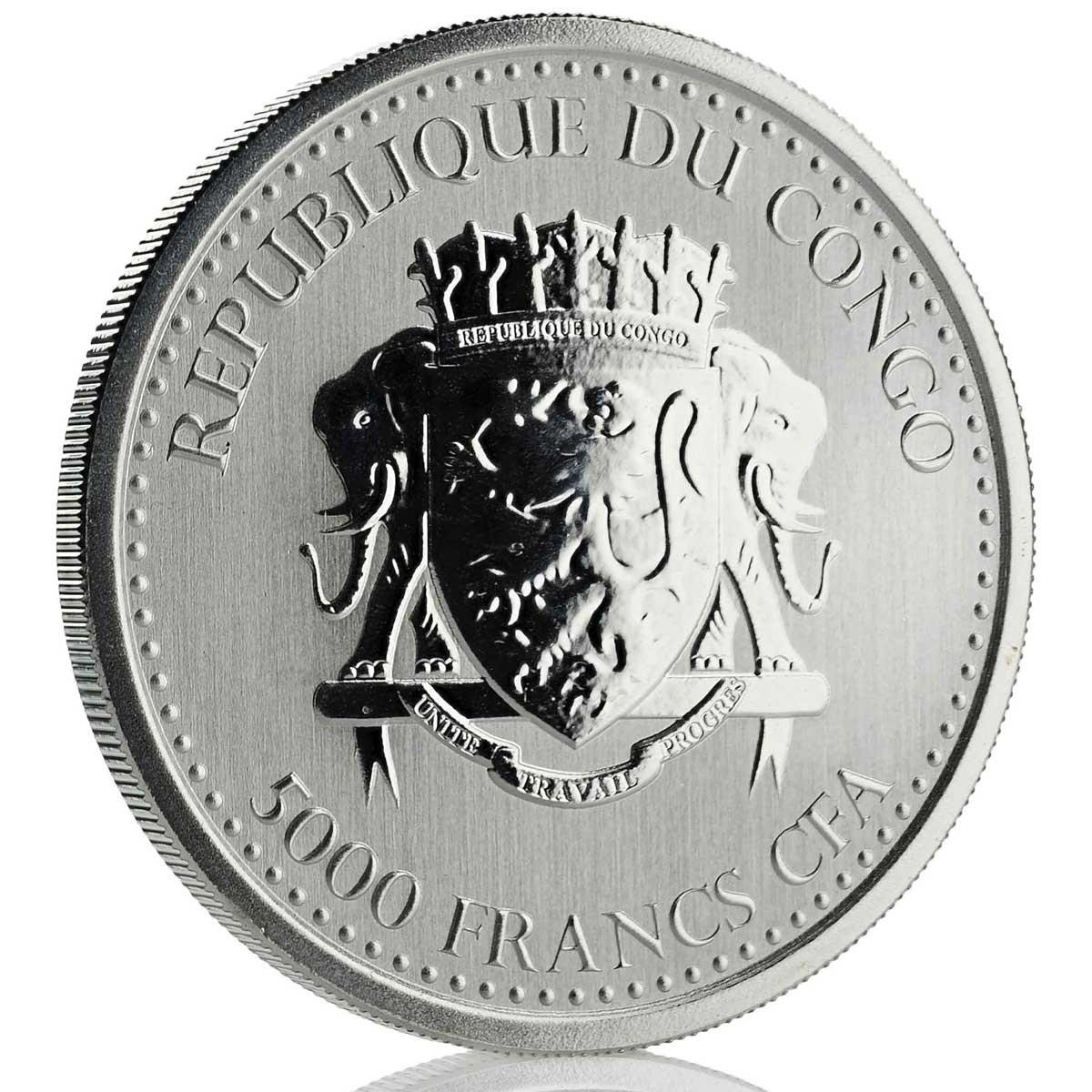 Конго монета 5000 франков КФА Горилла, аверс