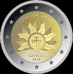 Латвия монета 2 евро Восходящее солнце, реверс