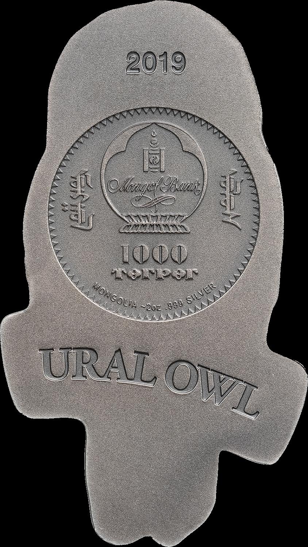 Монголия монета 1000 тенге Уральская неясыть, аверс
