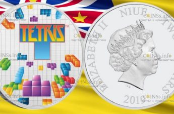 Ниуэ монета 2 доллара 35-лет Тетрису