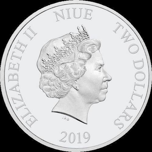 Ниуэ монета 2 доллара 2019 года, аверс