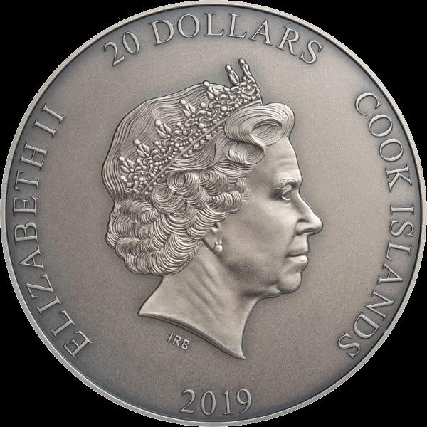Острова Кука монета 20 долларов Атлас, аверс