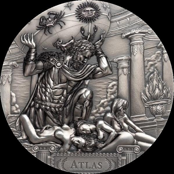 Острова Кука монета 20 долларов Атлас, реверс
