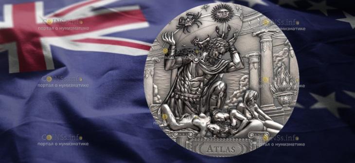Острова Кука монета 20 долларов Атлас