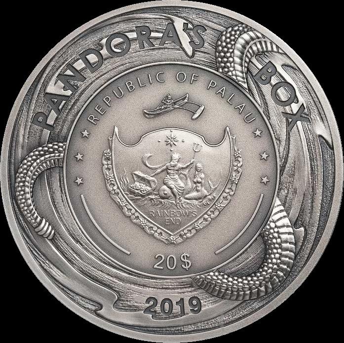 Палау монета 20 долларов Пандора, аверс