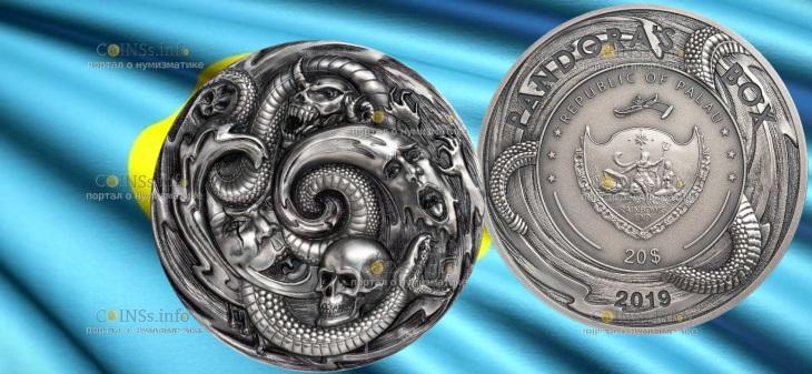 Палау монета 20 долларов Пандора