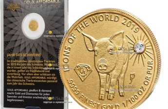 Руанда монета 10 долларов Год Свиньи