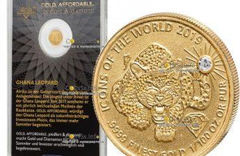 Руанда монета 10 долларов, леопард