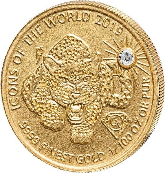 Руанда монета 10 долларов Леопард, реверс
