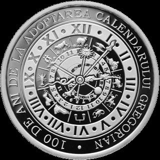 Румыния монета 10 леев 100-летие принятия григорианского календаря, реверс