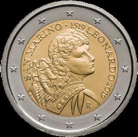 Сан-Марино монета 2 евро 500 лет со дня смерти Леонардо да Винчи, реверс
