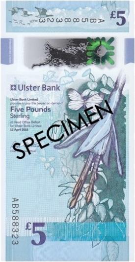Северная Ирландия банкнота 5 фунтов, лицевая сторона