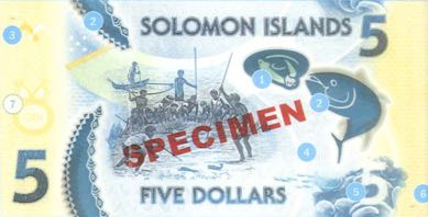 соломоновы острова банкнота 5 долларов, оборотная сторона