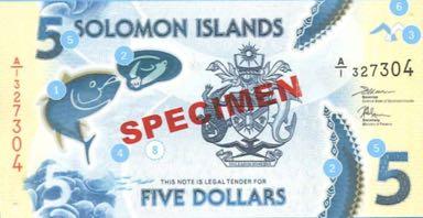 соломоновы острова банкнота 5 долларов. лицевая сторона