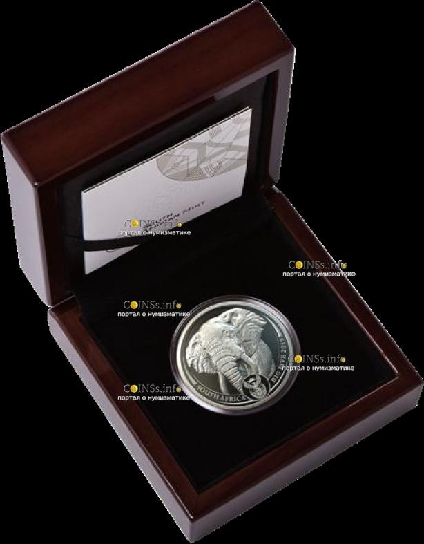 ЮАР монета 20 рэндов Слон, подарочная упаковка