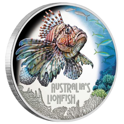 Тувалу монета 1 доллар Рыба лев, реверс