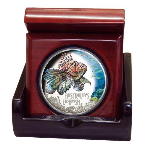 Тувалу монета 1 доллар Рыба лев, подарочная упарковка