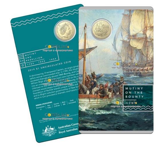 Австралия монета 1 доллар Мятеж на Баунти, подарочная упаковка