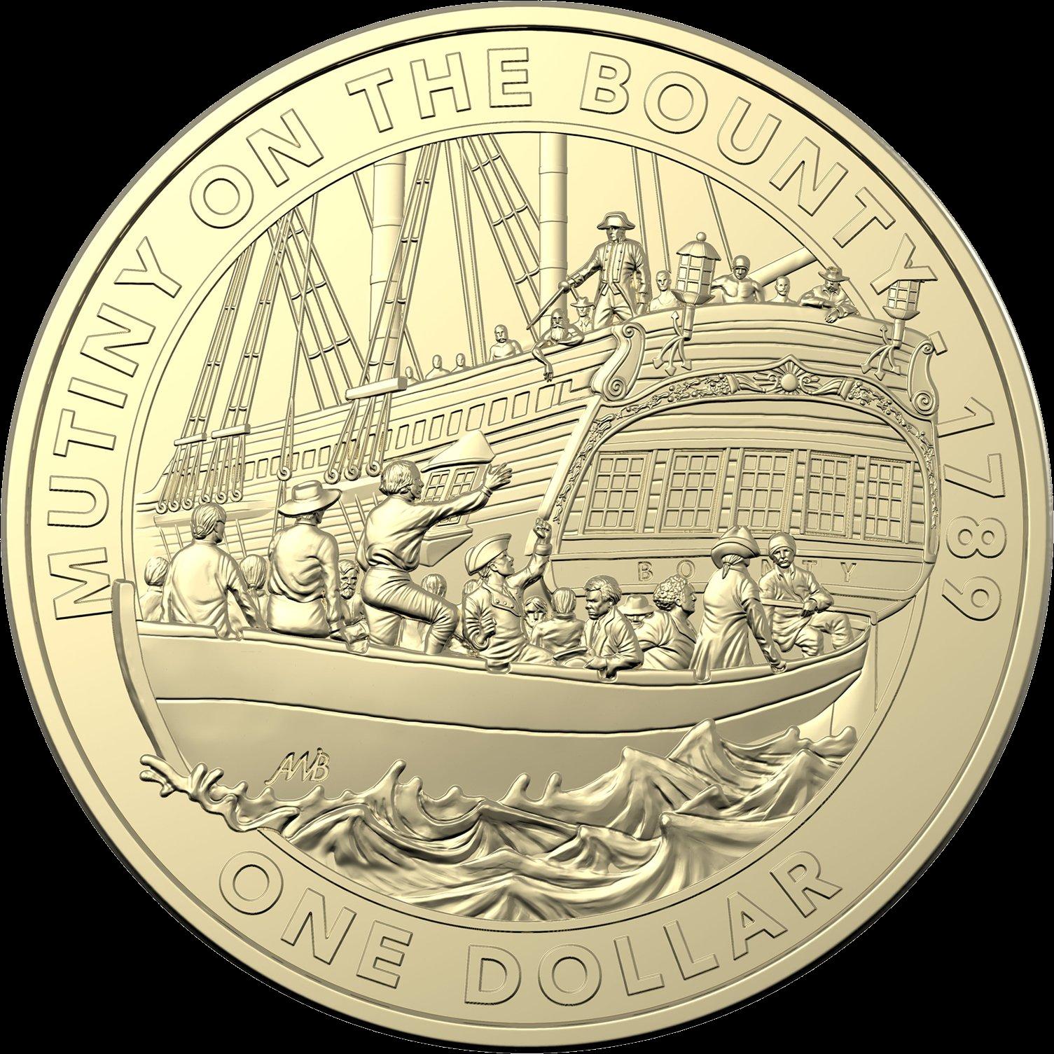 Австралия монета 1 доллар Мятеж на Баунти, реверс