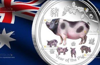 Австралия монета 2 доллара Год Свиньи