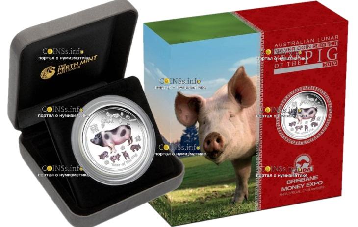 Австралия монета 2 доллара Год Свиньи, подарочная упаковка