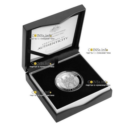 Австралия монета 5 долларов Ромовый бунт, подарочная упаковка
