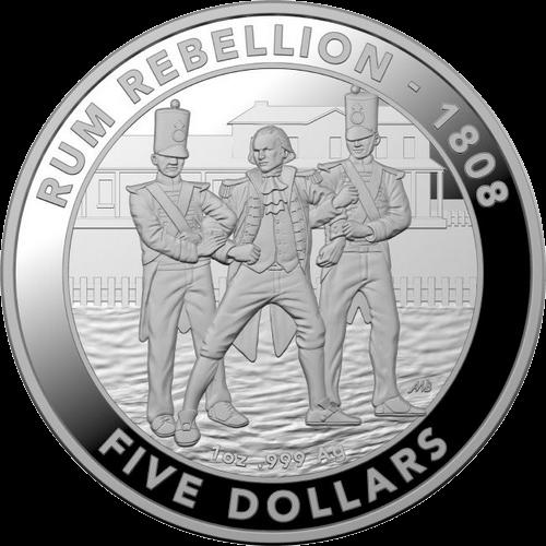 Австралия монета 5 долларов Ромовый бунт, реверс