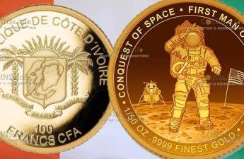 Кот-д'Ивуар монета 100 франков КФА, Первый человек на Луне