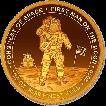 Кот-д'Ивуар монета 100 франков КФА, Первый человек на Луне, реверс