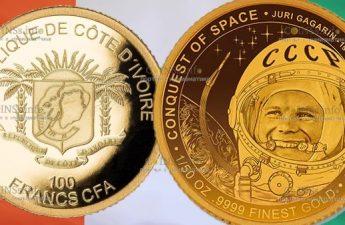 Кот-д'Ивуар монета 100 франков КФА, Юрий Гагарин