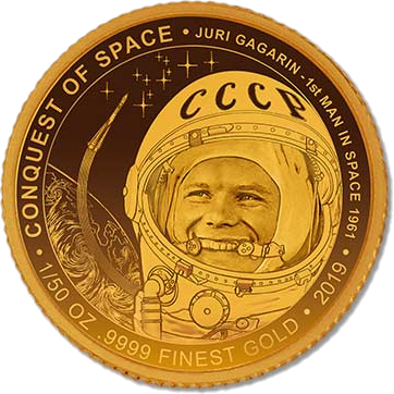 Кот-д'Ивуар монета 100 франков КФА, Юрий Гагарин, реверс