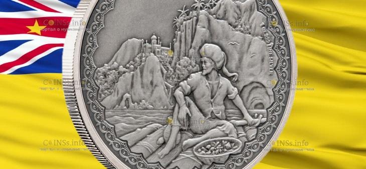 Ниуэ монета 2 доллара Синбад