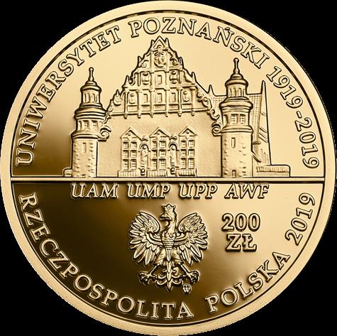 Польша монета 200 злотых 100 летие Университета имени Адама Мицкевича в Познани, аверс