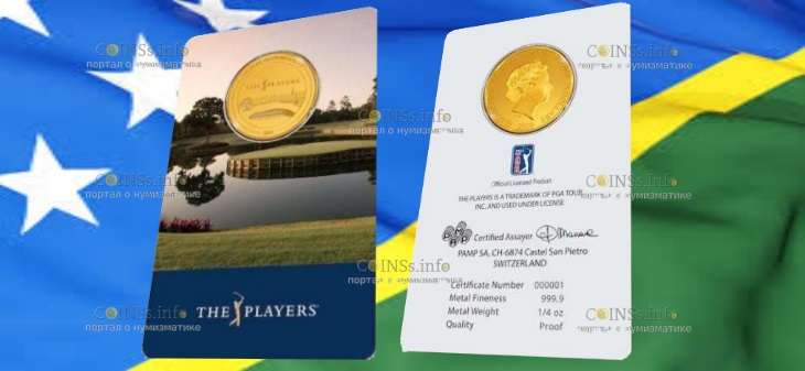 Соломоновы острова монета 25 долларов Чемпионат игроков, подарочная упаковка
