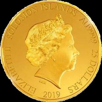 Соломоновы острова монета 25 долларов, золото, аверс