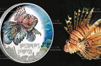 Тувалу монета 1 доллар Рыба лев
