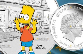 Тувалу монета 1 доллар Симпсоны