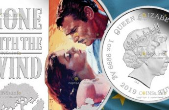 Тувалу монета 1 доллар Унесенные ветром